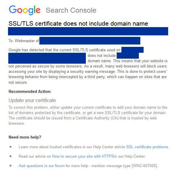 Google SSl TSL figyelmeztetés
