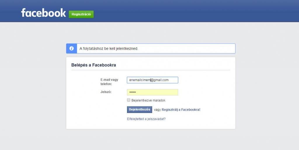 Belépés a Facebookra