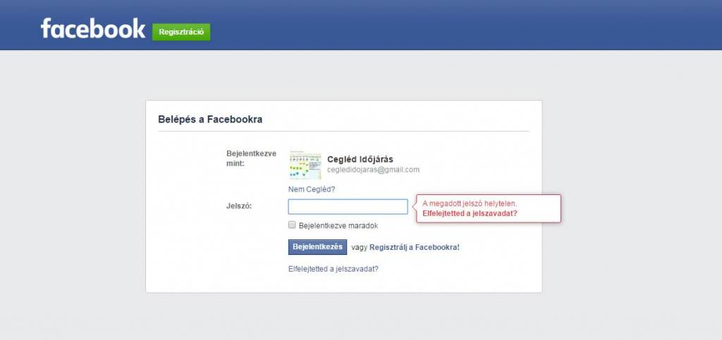 Facebook elfelejtett jelszó üzenet