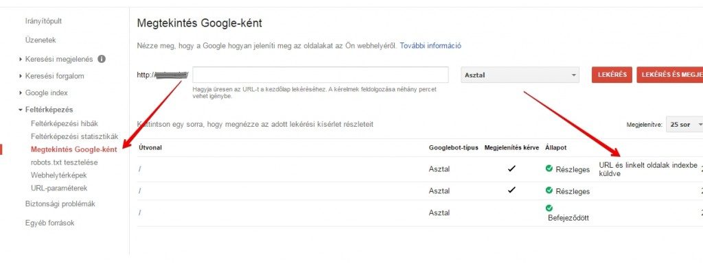 Search Console indexeltetés