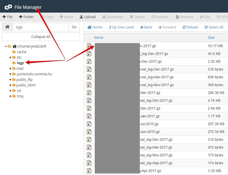 log file megtalálása